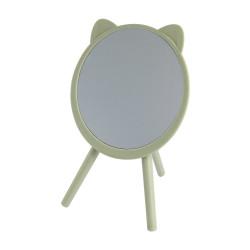 Lusterko kosmetyczne stojące na trzech nóżkach z uszami kota.